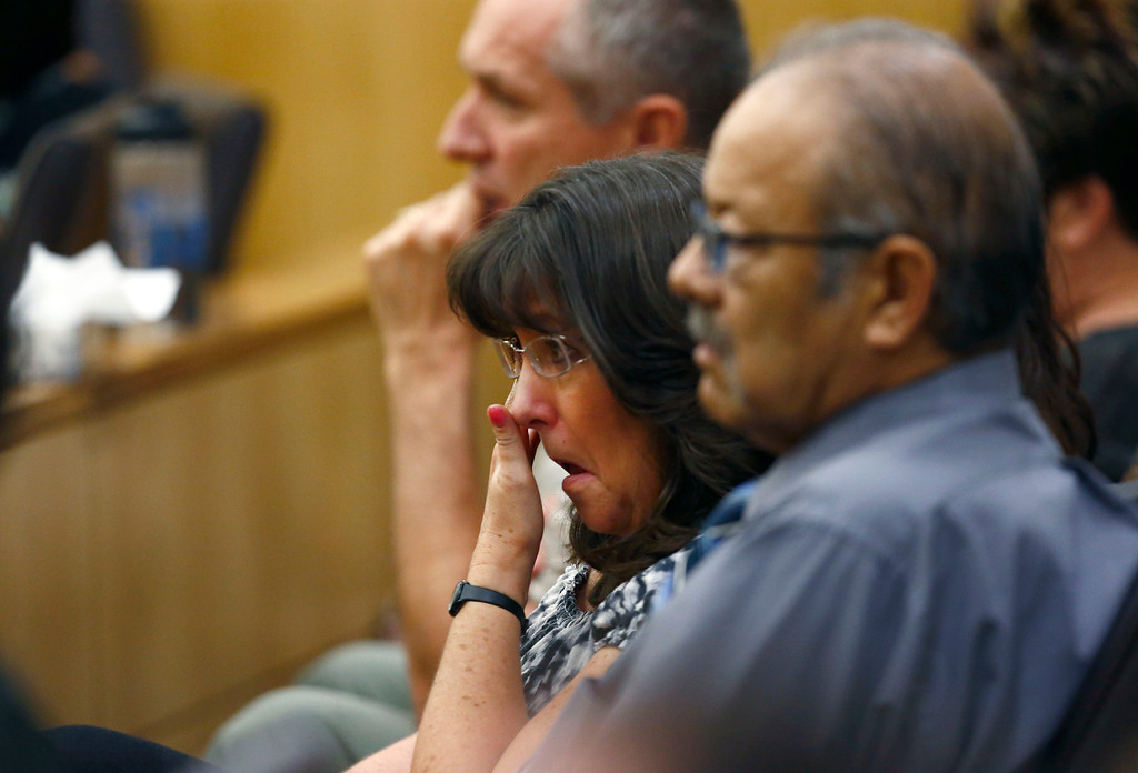 . Sandra Arias, mother of Jodi Arias, wipes tears away as her daughter addresses the jury on Tuesday, May 21, 2013, during the penalty phase of her murder trial at Maricopa County Superior Court in Phoenix.  Arias was convicted of first-degree murder in the stabbing and shooting to death of Travis Alexander in his suburban Phoenix home in June 2008. (AP Photo/The Arizona Republic, Rob Schumacher, Pool)