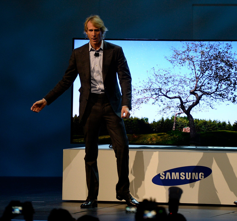 . Jan 6,2014.  Las Vegas NV. USA. Director Michael Bay who later just walked on stage, flubbed his lines, and walked off during the Samsung CES press conferences   Monday. The 2014 CES show starts this Tuesday and runs till Friday with a estimated crowd of 150,000 to attend the show.. Photo by Gene Blevins/LA Dailynews