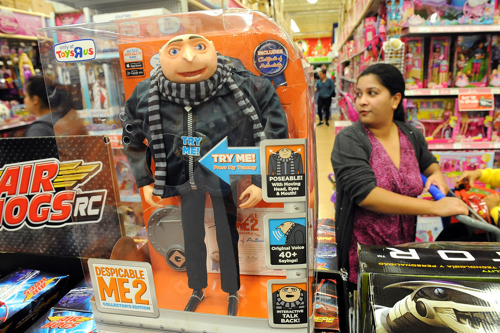 . A Gru doll waits to be purchased at the Toys�R�Us store in Porter Ranch, CA November 26, 2013.  Many retailers opened their doors with deals starting on Thanksgiving rather than on the traditional Black Friday.(Andy Holzman/Los Angeles Daily News)