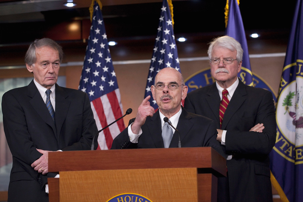 . Rep. Henry Waxman, D-Calif., center, accompanied by Rep. Ed Markey, D-Mass., left, and Rep. George Miller, D-Calif., speaks during a news conference on Capitol Hill in Washington, Wednesday, Jan. 26, 2011, to discuss the Gulf oil spill .(AP Photo/Harry Hamburg)