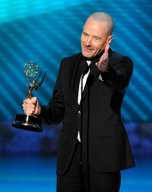 ". Bryan Cranston accepts the award for outstanding lead actor in a drama series for his work on ""Breaking Bad\"" at the 60th Primetime Emmy Awards Sunday, Sept. 21, 2008, in Los Angeles. (AP Photo/Mark J. Terrill)"