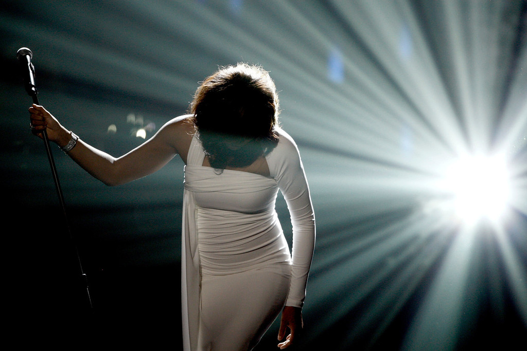 . Artist Whitney Houston performs onstage at the 37th Annual  American Music Awards on Sunday, Nov. 22, 2009, in Los Angeles. (AP Photo/Matt Sayles)