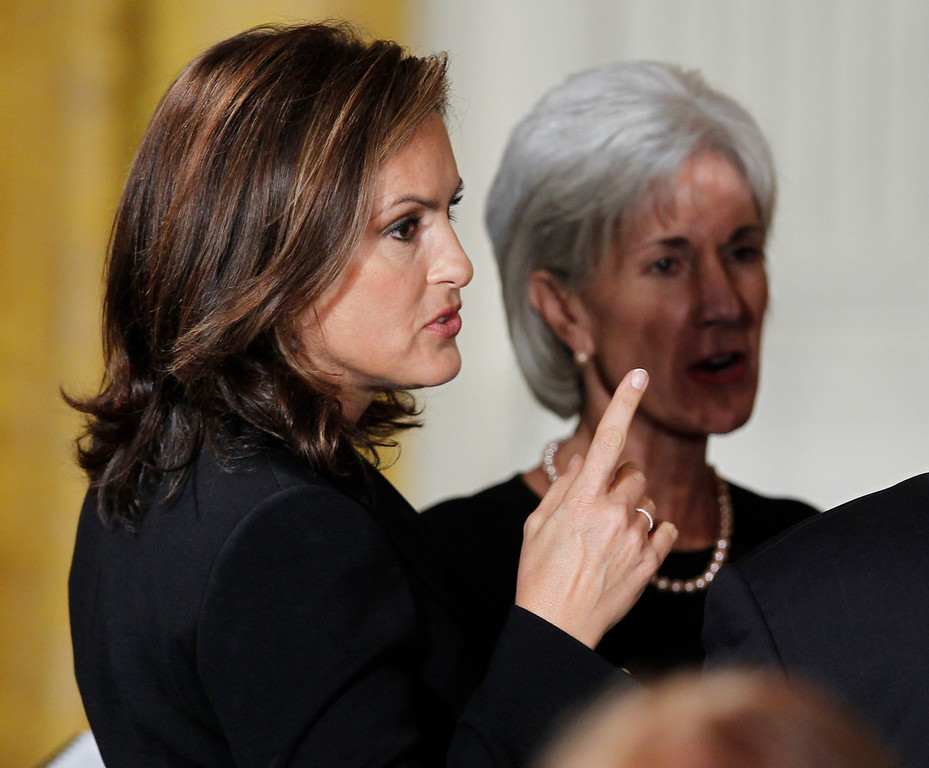 . Law and Order Special Victims Unit actress Mariska Hargitay is pictured with Health and Human Services Secretary Kathleen Sebelius before President Barack Obama speaks at an event marking Domestic Violence Awareness Month in the East Room of the White House in Washington, Wednesday, Oct. 27, 2010. (AP Photo/Charles Dharapak)