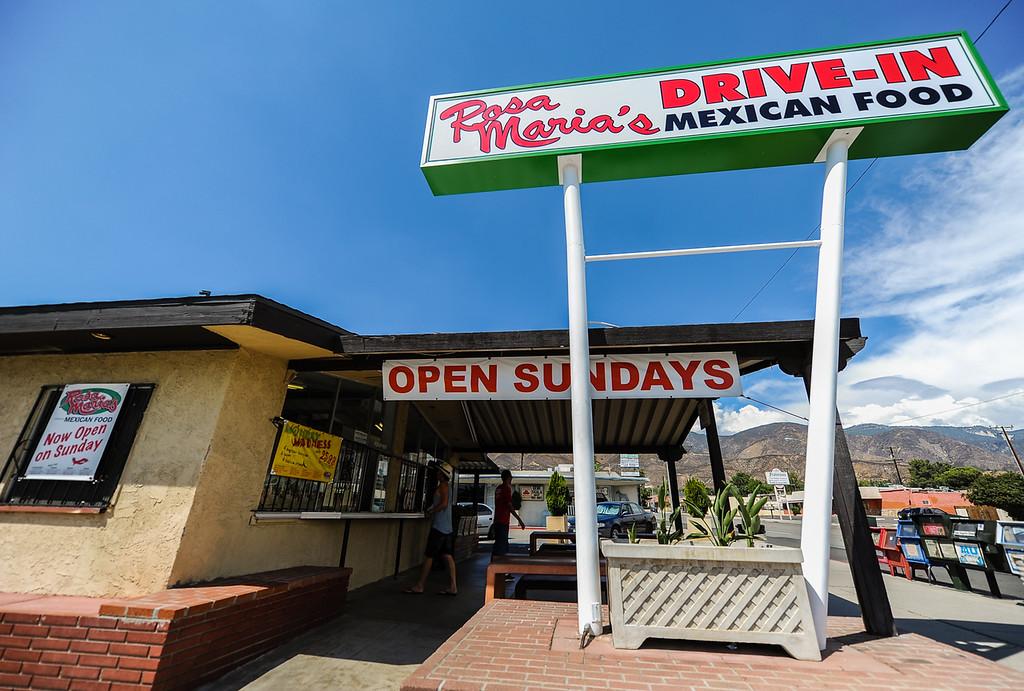 . Customers visit a local food hotspot at Rosa Maria\'s in San Bernardino Wednesday, Sept. 4, 2013. Rosa Maria\'s is known for its exclusive Garbage Burrito menu item. (Photo by Rachel Luna / San Bernardino Sun)