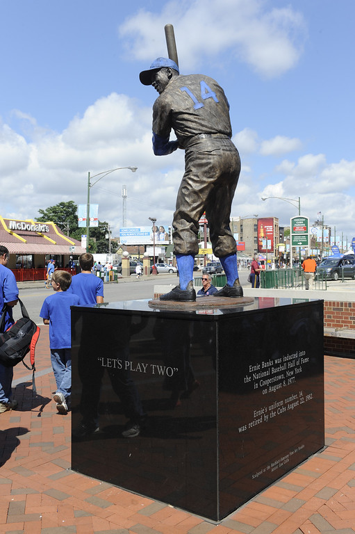 . The Ernie Banks statue outside of Wrigley Field prior to action in a baseball game between the Chicago Cubs and the Los Angeles Dodgers Sunday Aug. 4, 2013 in Chicago, Ill. (AP photo/Joe Raymond
