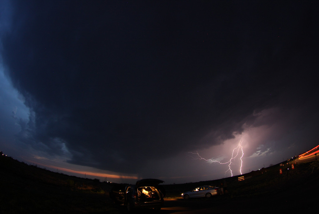 . April 26,2014. Quaniah TX. USA. Lightning strikes across as storm chasers take photos and track the atoms as they move over the Midwest. Photo by Gene Blevins/LA Daily News