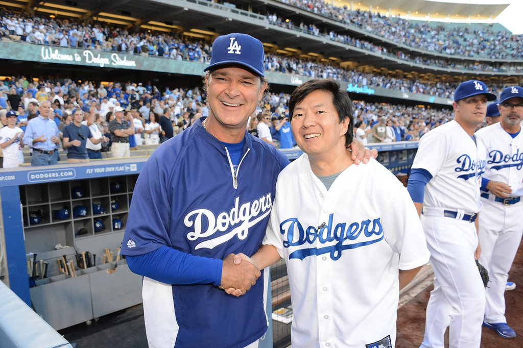. Dodgers Manager Don Mattingly and actor Ken Jeong attend a game between the Los Angeles Dodgers and the New York Yankees on July 30, 2013 at Dodger Stadium in Los Angeles,Caifornia. (Photo by Jon Soohoo/Los Angeles Dodgers via Getty Images)
