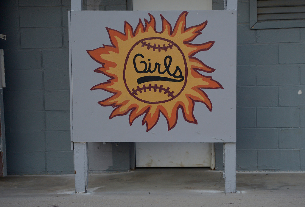 . A privacy screen is painted for the girls restroom entrance. A dispute has erupted between the nonprofit Encino-Sherman Oaks Softball � a four-year-old, award-winning fast-pitch league serving girls--and Mid-Valley Boys Baseball, which operates at the same complex at 17301  Oxnard St. Encino CA. February 5, 2014 (Photo by John McCoy / Los Angeles Daily News)