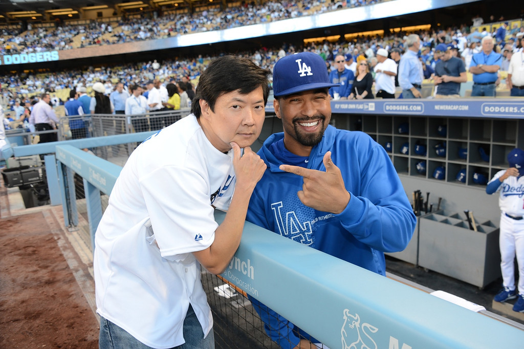 . Actor Ken Jeong and Dodgers player Matt Kemp attend a game between the Los Angeles Dodgers and the New York Yankees on July 30, 2013 at Dodger Stadium in Los Angeles,Caifornia. (Photo by Jon Soohoo/Los Angeles Dodgers via Getty Images)