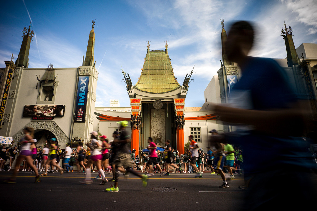 . Runners pass in front of the Chinese theater in Hollywood during the 29th Los Angeles Marathon Sunday, March 9, 2014.   (Photo by David Crane/Los Angeles Daily News.)