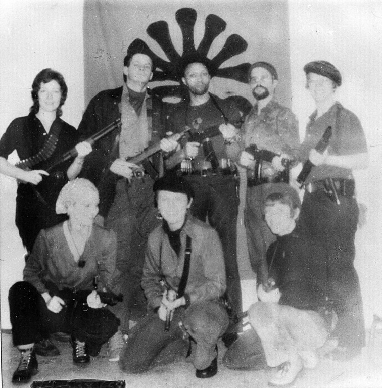 . This is an undated photo found in the burned-out ruins of the house in south-central Los Angeles where six Symbionese Liberation Army (SLA) members died on May 17, 1974.  Cmdr. Pete Hagen of the police department gave these possible identifications:  Patricia Hearst (lower left), Field Marshal Cinque (center rear), Camilla Hall (right rear), William Wolfe (second from left in rear) and William Harris (second from right in rear).  Hagen did not identify the others.  (AP Photo)