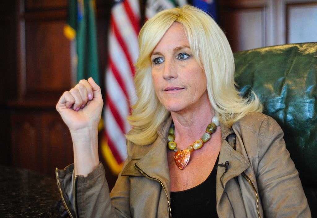. Environmental activist Erin Brockovich discusses Hinkley\'s Chromium 6 water contamination issues during a sit-down interview at the Law office of Masry & Vititoe in Westlake Village, Calif. on Wednesday, March 13, 2013. (Rachel Luna / San Bernardino Sun)