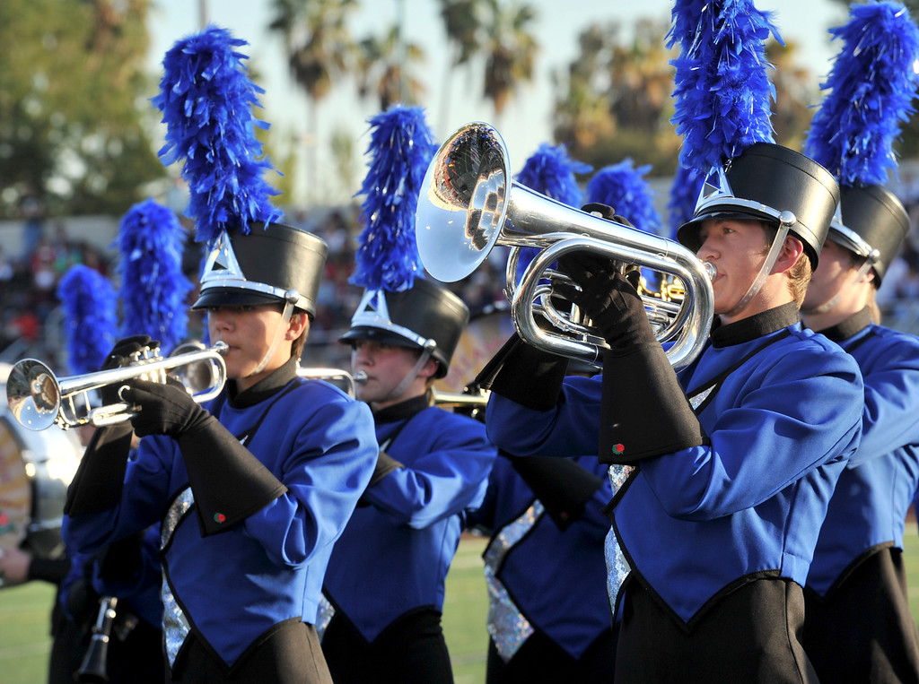 ". The McQueen High School ""Lancer Band\"" from Reno, Nevada performs during the 34th Annual Pasadena Tournament of Roses Bandfest at Pasadena City College on Monday December 30, 2013. (Staff Photo by Keith Durflinger/Pasadena Star-News)"