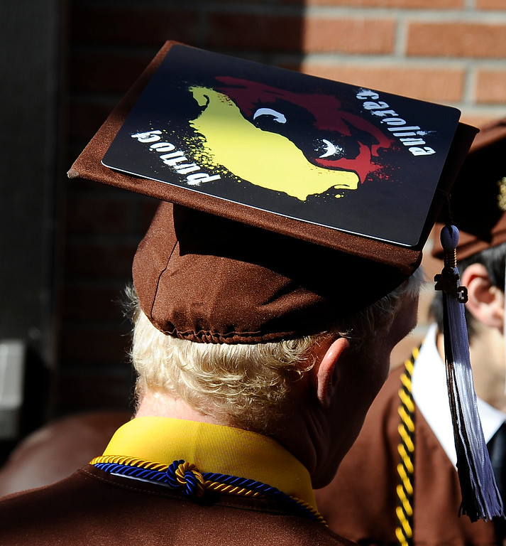 . Grads make their way in to the start of the Crespi High class of 2013 graduation. May 24.2013.  (Gene Blevins/LA Daily News)