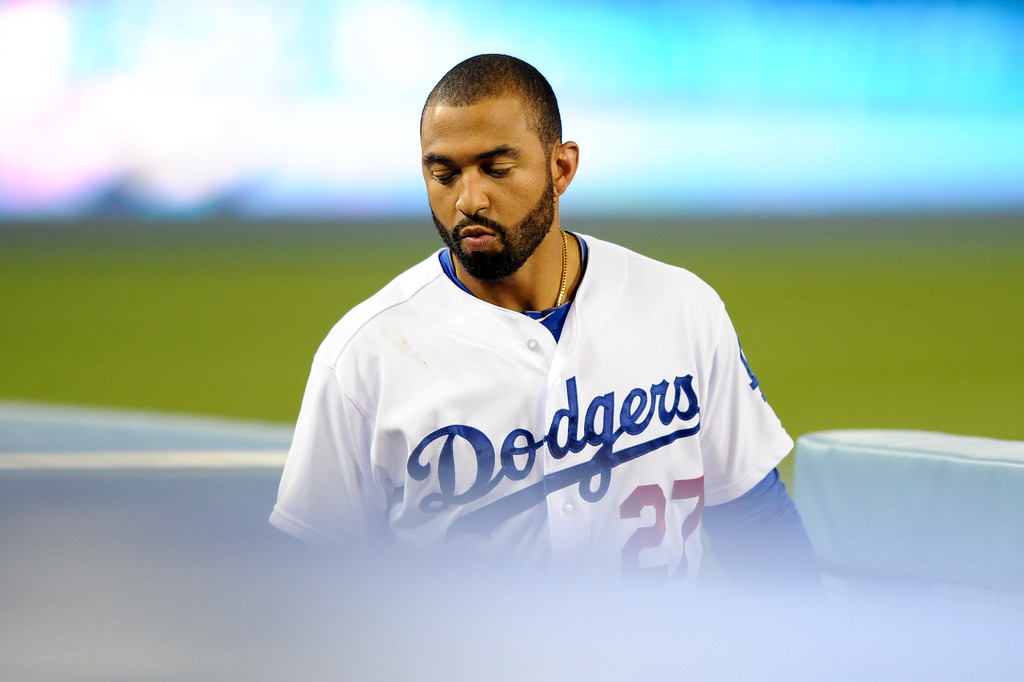 . The Dodgers\' Matt Kemp stands in the dugout, Friday, April 25, 2014, at Dodger Stadium. (Photo by Michael Owen Baker/L.A. Daily News)