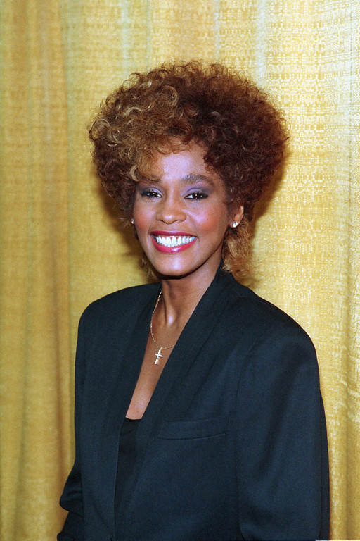 . Singer Whitney Houston poses at the Soul Train Awards in Los Angeles, Ca., March 23, 1987.  (AP Photo)