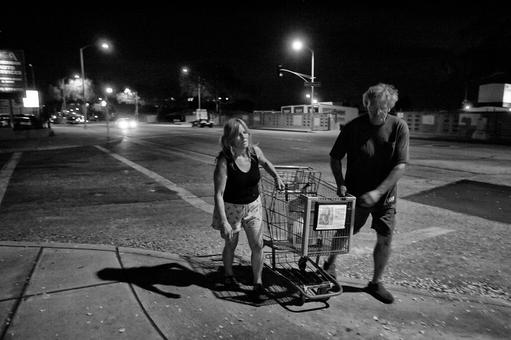 . Dorothy and Dave Hufford make a nighttime water run.