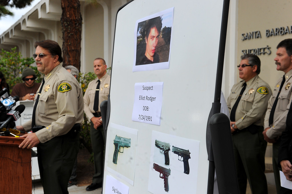 . Santa Barbara Sheriff Bill Brown, left, speaks during a press conference, Saturday, May 24, 2014, about the rampage by suspect Elliot Rodger Friday night in Isla Vista that left seven people dead. (Photo by Michael Owen Baker/Los Angeles Daily News)