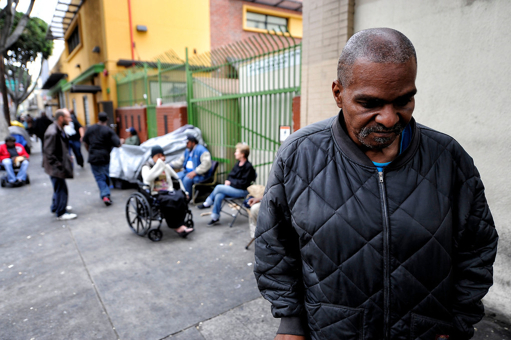 . Gerry Flyod  in the Skid-row area of Los Angeles Wednesday, April 24, 2013. (Hans Gutknecht/Staff Photographer)
