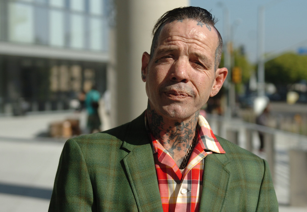 . Punk and skateboard legend Duane Peters outside the Long Beach Superior Courthouse after being arraigned for assaulting his girlfriend at their Long Beach home in Long Beach, CA. February 24, 2014.  (Thomas R. Cordova Daily Breeze/Press-Telegram)