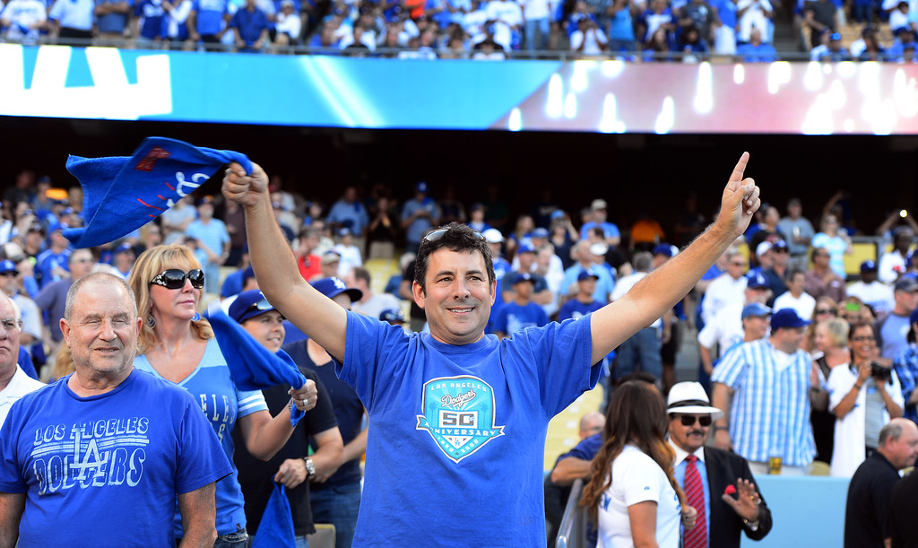 . Fans cheer before game 3 of the NLDS at Dodger Stadium Sunday, October 6, 2013.  (Photo by Sarah Reingewirtz/Los Angeles Daily News)