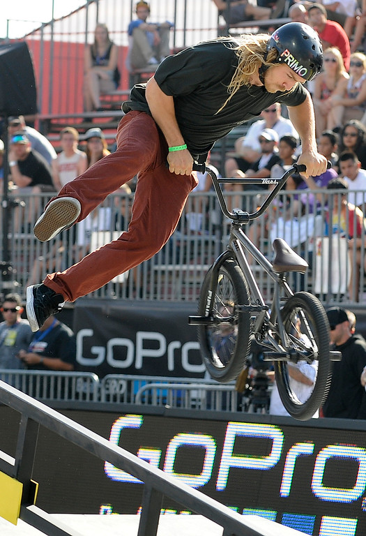 . Ty Morrow was in the top 6, but did not medal during the BMX Street finals at L.A. Live in Los Angeles, CA. 8/3/2013(John McCoy/LA Daily News)