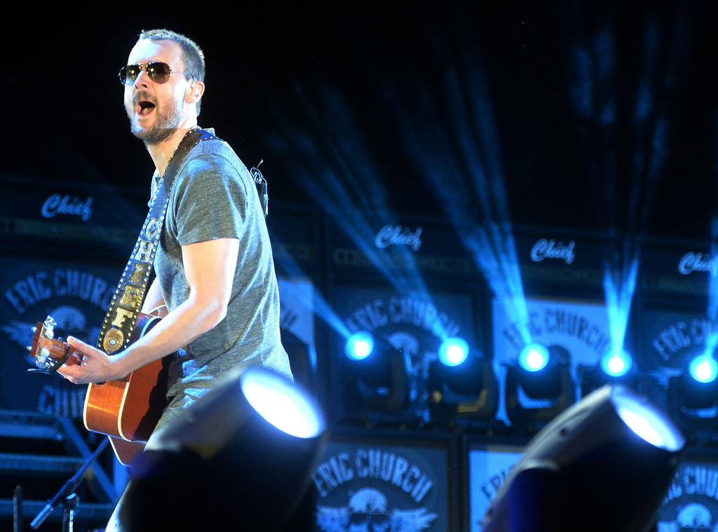 . Eric Church performs on the Mane Stage as he headlines Friday April 25, 2014 on the opening night of Stagecoach 2014 at the Empire Polo Club in Indio. (Will Lester/Inland Valley Daily Bulletin)