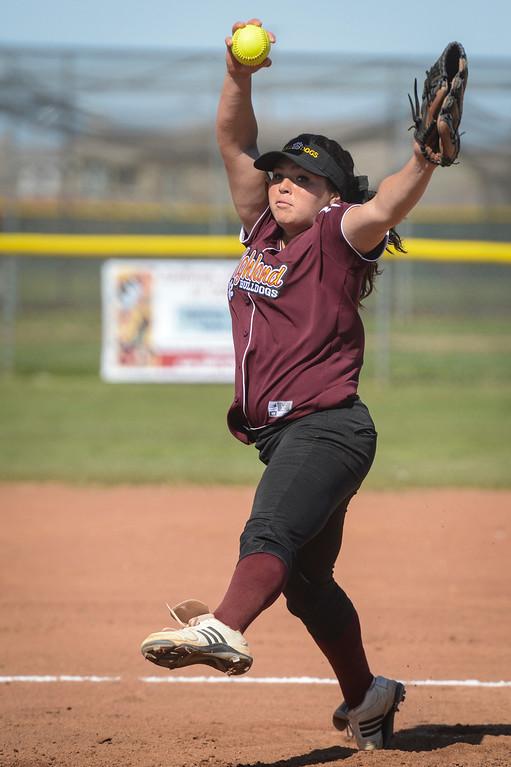 . Highland\'s Rachel Garcia pitches during game. Photo by David Crane/Staff Photographer