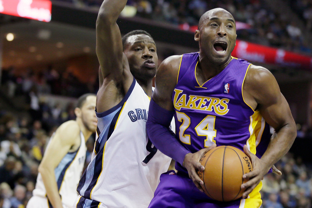 . Memphis Grizzlies\' Tony Allen (9) defends Los Angeles Lakers\' Kobe Bryant (24) during the first half of an NBA basketball game in Memphis, Tenn., Tuesday, Dec. 17, 2013. (AP Photo/Danny Johnston)