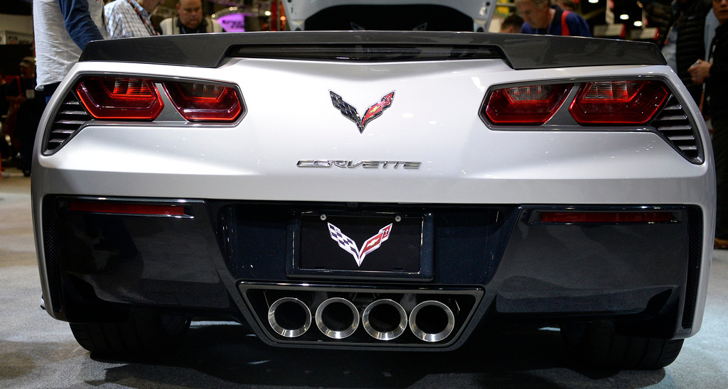 . Nov 6,2013 Las Vegas NV. USA. Look of the new Chevy Stingray Corvette on display at the Chevy booth, during the second day of the 2013 SEMA auto show.