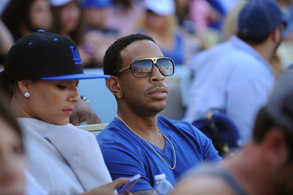 . LOS ANGELES, CA - MAY 24:  In this handout photo provided by the Los Angeles Dodgers, Ludacris attend the Los Angeles Dodgers vs St. Louis Cardinals game from the exclusive Lexus Dugout Club May 24, 2013 in Los Angeles, California.  (Photo by Jon SooHoo/Los Angeles Dodgers, LLC via Getty Images)