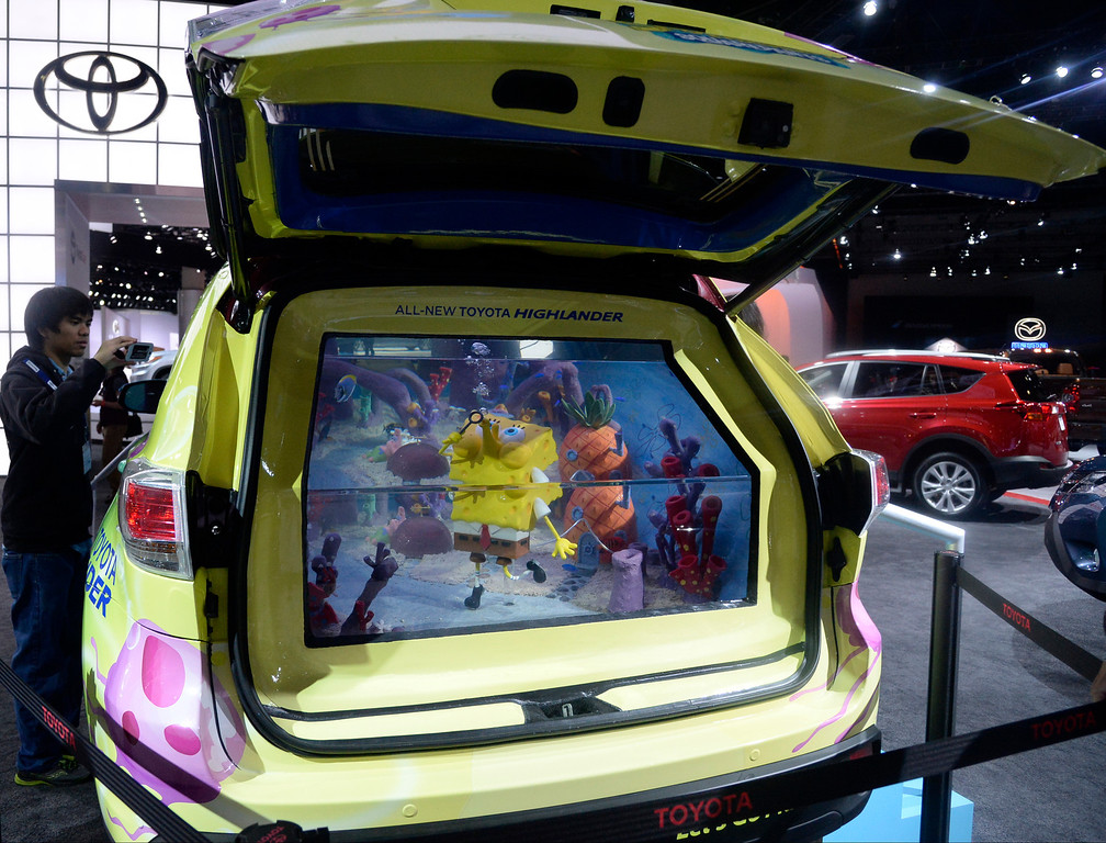. Nov 22,2013 Los Angeles CA. Toyota new  2014 Highlander SpongeBob tank edition on display during the 2nd media day at the Los Angeles Auto Show. The show opens to the public today Friday and runs through Dec 1st.  Photo by Gene Blevins/LA Daily News