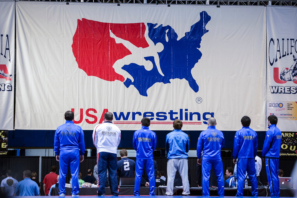 . The Russian wrestling team during the national anthem at the USA vs Russia vs Canada dual meet at the Sports Arena Sunday .  Photo by David Crane/Los Angeles Daily News.