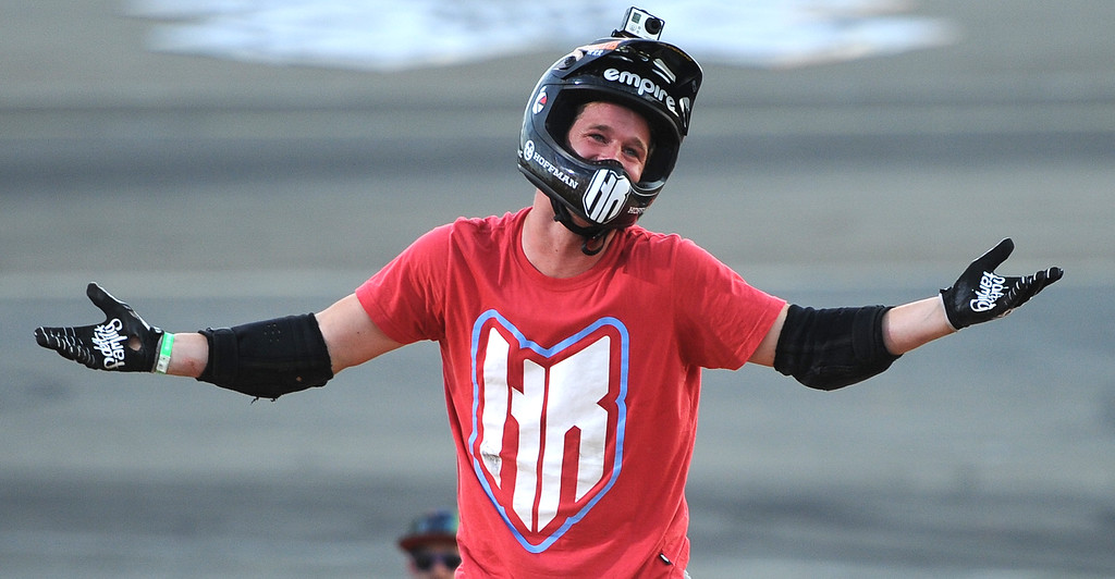 . Morgan Wade reacts after falling on his final ride, but would win the gold medal during the GoPro BMX Big Air Final at Irwindale Speedway on Friday, Aug. 2, 2013 in Irwindale, Calif. 
