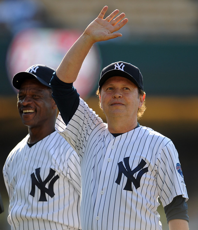 . Billy Crystal with Former New York Yankees Ricky Henderson during the Old-Timers game prior to a baseball game between the Atlanta Braves and the Los Angeles Dodgers on Saturday, June 8, 2013 in Los Angeles.   (Keith Birmingham/Pasadena Star-News)