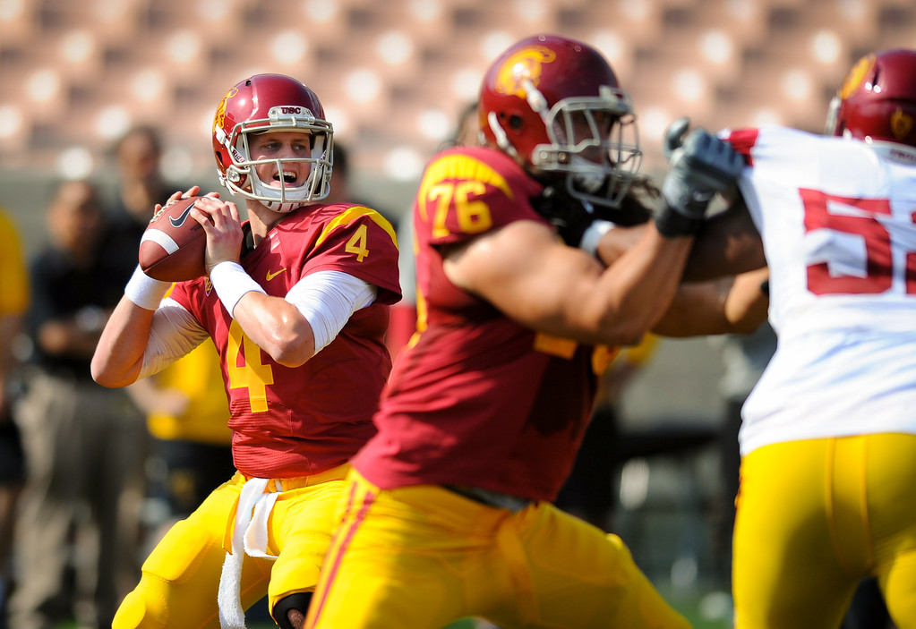 . USC QB Max Browne looks downfield for a receiver during their spring game. (Photo by Michael Owen Baker/L.A. Daily News)