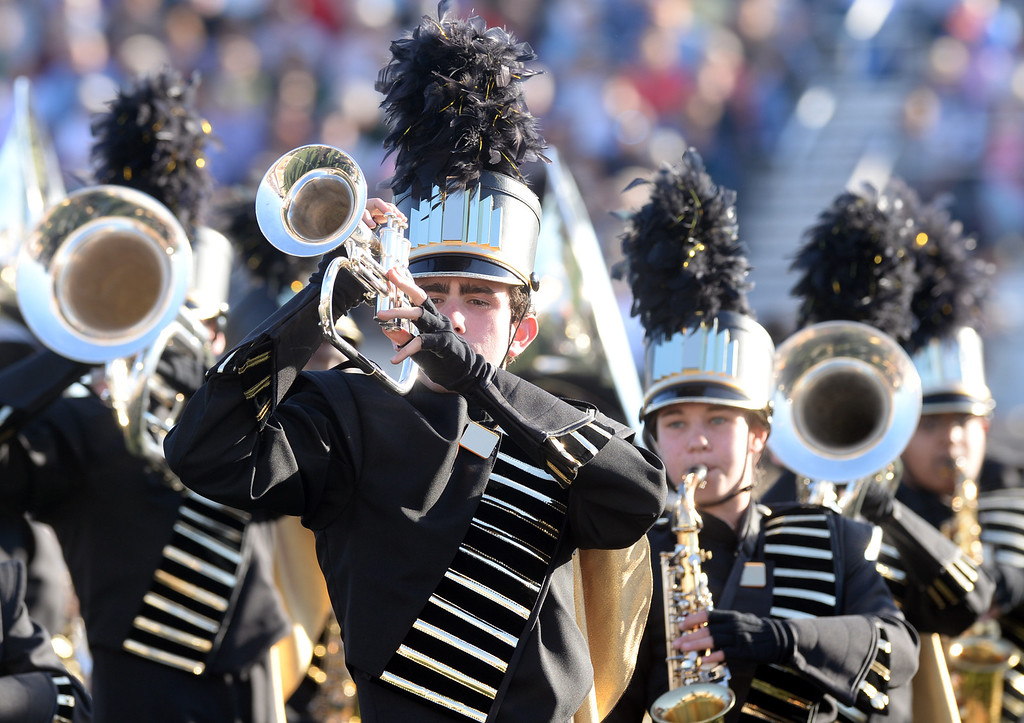 . The Westfield High School Marching Bulldogs from Chantilly, Virginia performs during the 34th Annual Pasadena Tournament of Roses Bandfest at Pasadena City College on Monday December 30, 2013. (Staff Photo by Keith Durflinger/Pasadena Star-News)