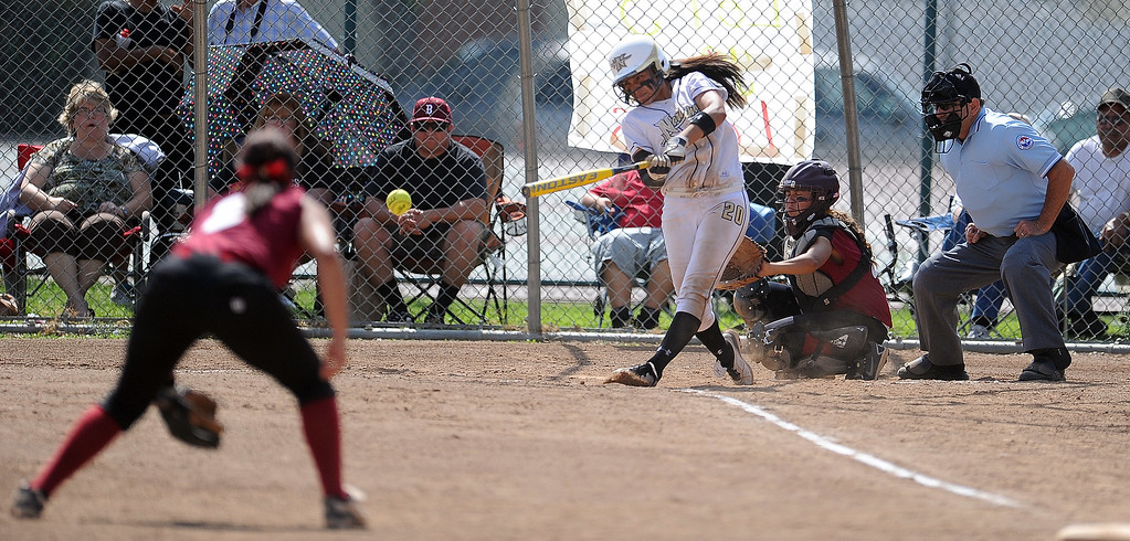 . Northview\'s Sarina Jaramillo (C) (20) in the second inning of a CIF-SS quarterfinal playoff softball game against Barstow at Northview High School on Thursday, May 23, 2013 in Covina, Calif. Northview won 5-4.  (Keith Birmingham Pasadena Star-News)