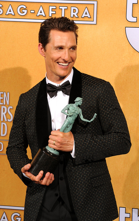 . Matthew McConaughey backstage at the 20th Annual Screen Actors Guild Awards  at the Shrine Auditorium in Los Angeles, California on Saturday January 18, 2014 (Photo by John McCoy / Los Angeles Daily News)
