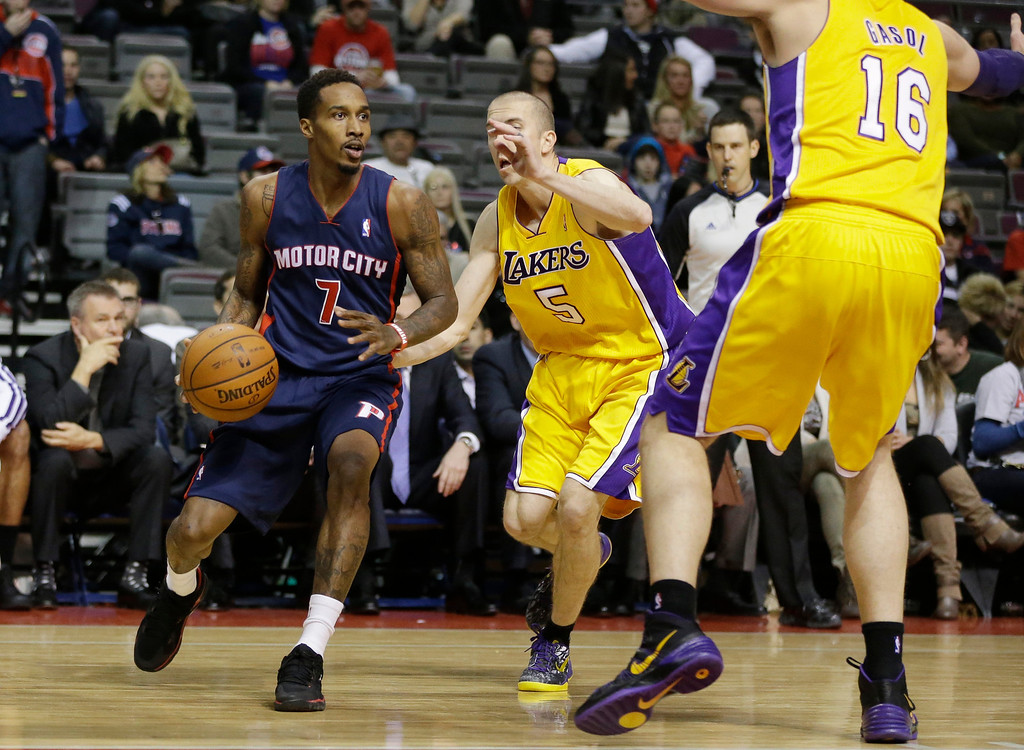 . Detroit Pistons guard Brandon Jennings (7) looks to pass around Los Angeles Lakers guard Steve Blake (5) during the second half of an NBA basketball game at the Palace in Auburn Hills, Mich., Friday, Nov. 29, 2013. (AP Photo/Carlos Osorio)