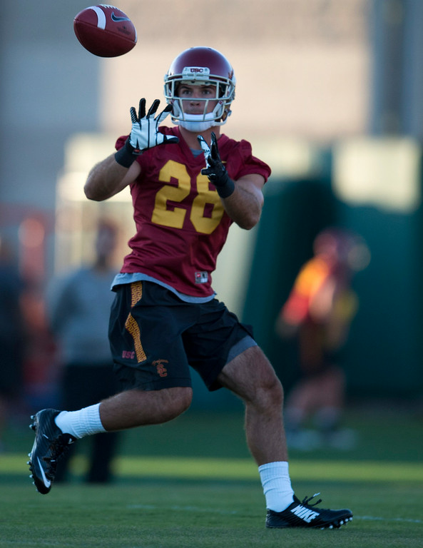 . Christian Tobe #28 during practice at USC, Howard Jones Field on the USC campus in Los Angeles, Monday, August 4, 2014. (Photo by Hans Gutknecht/Los Angeles Daily News)