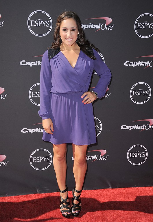 . Gymnast Jordyn Wieber arrives at the ESPY Awards on Wednesday, July 17, 2013, at Nokia Theater in Los Angeles. (Photo by Jordan Strauss/Invision/AP)