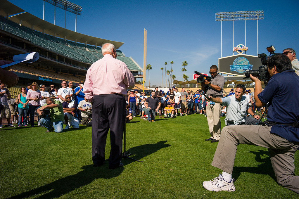 . Dodgers\' Tommy Lasorda speaks to veterans during Veterans Day at Dodger Stadium Monday, November 11, 2013.  The dodgers hosted 100 active duty and retired military to Dodger Stadium to take part in batting practice, enjoy and Dodger lunch and tour the facilities.    ( Photo by David Crane/Los Angeles Daily News )