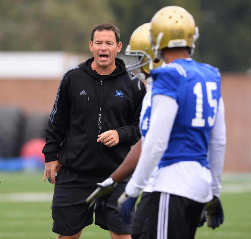. UCLA football spring practice at Spaulding Field.  Head Coach Jim Mora. (Apr.16, 2014 Photo by Brad Graverson/The Daily Breeze)