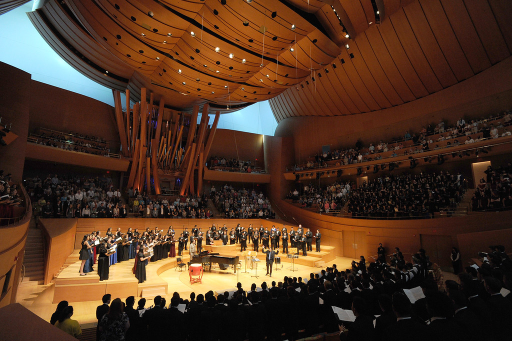 . 1,000 students from 28 southland High Schools performed in the Los Angeles Master Chorale High School Choir Festival at the Walt Disney Concert Hall. Directed by Grant Gershon, the choir filled the hall with music from every angle. Los Angeles, CA. 5/2/2014(Photo by John McCoy / Los Angeles Daily News)