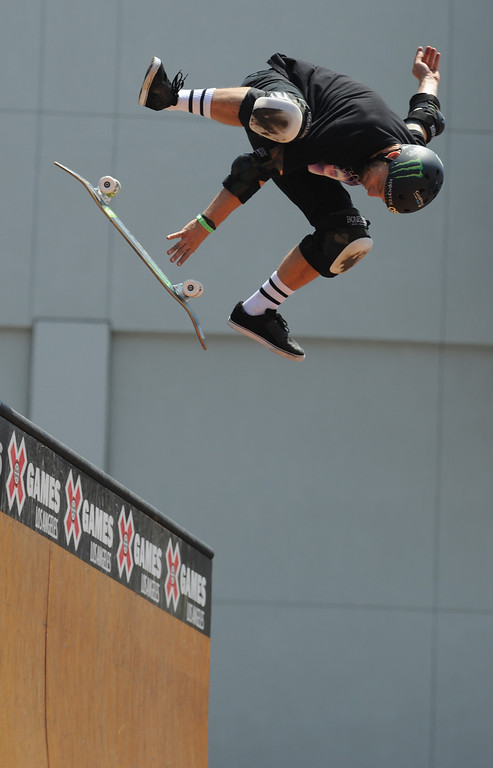. Pierre-Luc Gagnon skates his way into 2nd place during the Skateboard Vert Finals at L.A. Live in Los Angeles, CA. 8/3/2013(John McCoy/LA Daily News)
