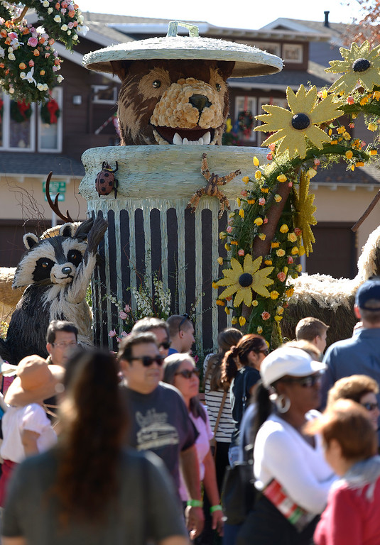 ". The City of Glendale float featured ""Meatball,\"" the bear who liked to show up and eat from trash cans on trash days. Even though captured a number of times, and returned to the mountains, Meatball would find his way back into Glendale to scavenge on trash days. The 125th Rose Parade\'s Showcase of Floats was staged on Sierra Madre Boulevard between Washington Boulevard and Sierra Madre Villa Avenue, and Washington Boulevard between Sierra Madre Boulevard and Woodlyn Road.  Pasadena, CA January 1, 2014.(John McCoy/Los Angeles Daily News)"