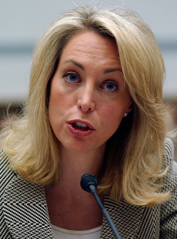 . Former CIA analyst Valerie Plame testifies on Capitol Hill in Washington, March 16, 2007, before the House Oversight and Government Reform Committee. (AP Photo/Dennis Cool)