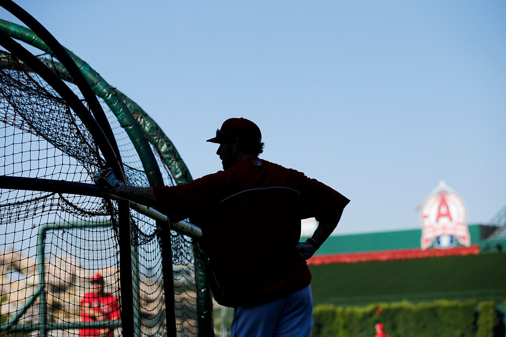 . Los Angeles Angels\' Josh Hamilton looks on during practice for a baseball game against the Houston Astros on Friday, Aug. 16, 2013, in Anaheim, Calif. (AP Photo/Jae C. Hong)
