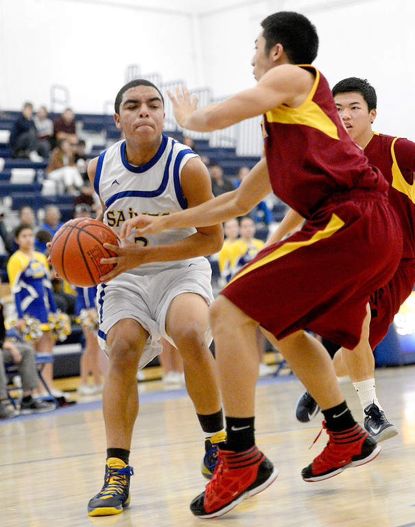 . San Dimas\' Greyson McGee (3) goes for a layup as Wilson defeats San Dimas 45-43 Friday night, January 10, 2014 at San Dimas High School.  (Photo by Sarah Reingewirtz/Pasadena Star-News)